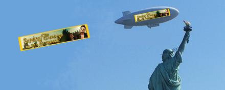 Blimp pulling banner